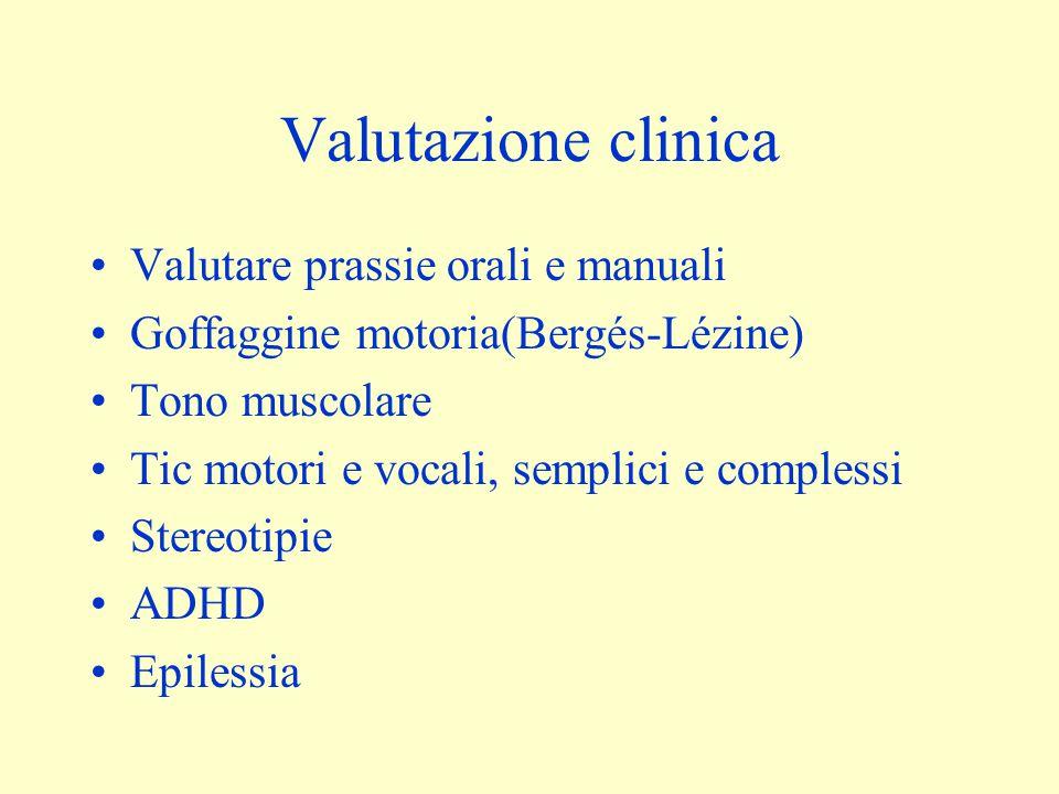 Valutazione clinica Valutare prassie orali e manuali Goffaggine motoria(Bergés-Lézine) Tono muscolare Tic motori e vocali, semplici e complessi Stereotipie ADHD Epilessia