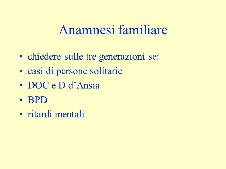 Anamnesi familiare chiedere sulle tre generazioni se: casi di persone solitarie DOC e D d'Ansia BPD ritardi mentali