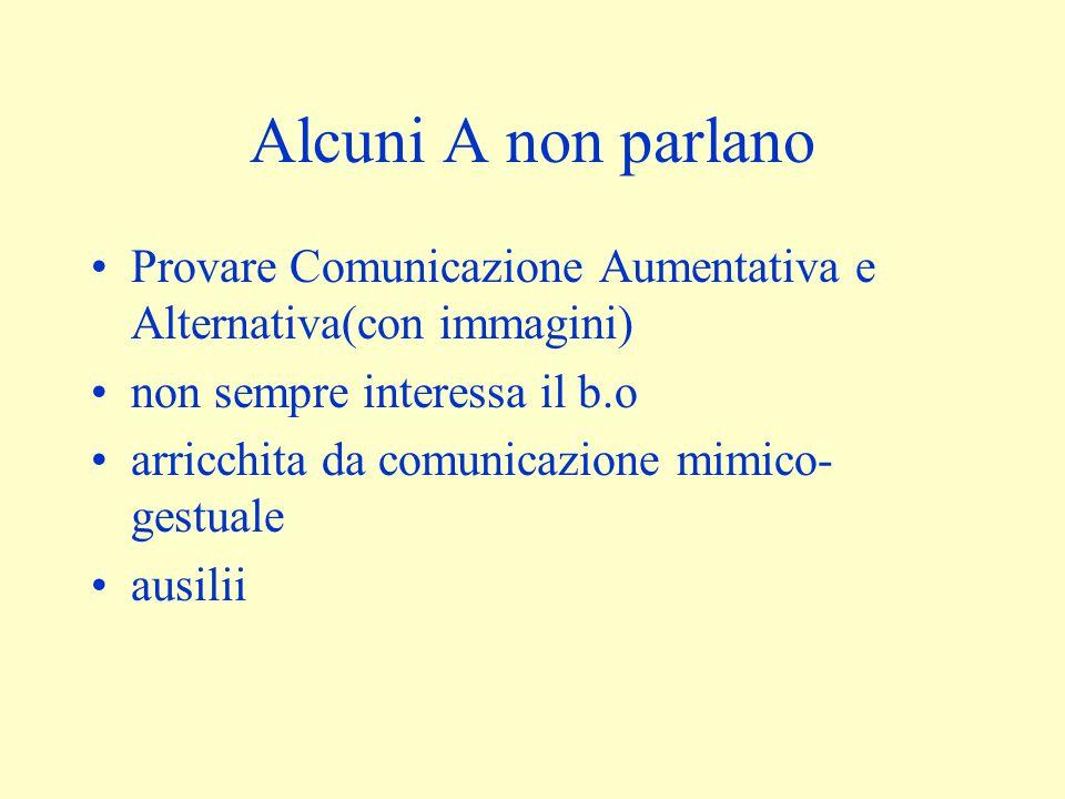 Alcuni A non parlano Provare Comunicazione Aumentativa e Alternativa(con immagini) non sempre interessa il b.o arricchita da comunicazione mimico- gestuale ausilii