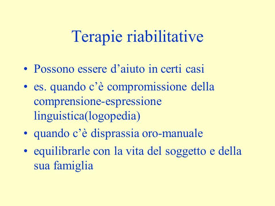 Terapie riabilitative Possono essere d'aiuto in certi casi es. quando c'è compromissione della comprensione-espressione linguistica(logopedia) quando
