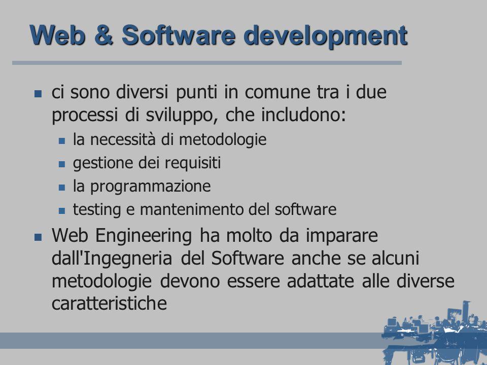 Web & Software development ci sono diversi punti in comune tra i due processi di sviluppo, che includono: la necessità di metodologie gestione dei requisiti la programmazione testing e mantenimento del software Web Engineering ha molto da imparare dall Ingegneria del Software anche se alcuni metodologie devono essere adattate alle diverse caratteristiche