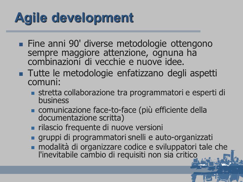 Agile development Fine anni 90 diverse metodologie ottengono sempre maggiore attenzione, ognuna ha combinazioni di vecchie e nuove idee.