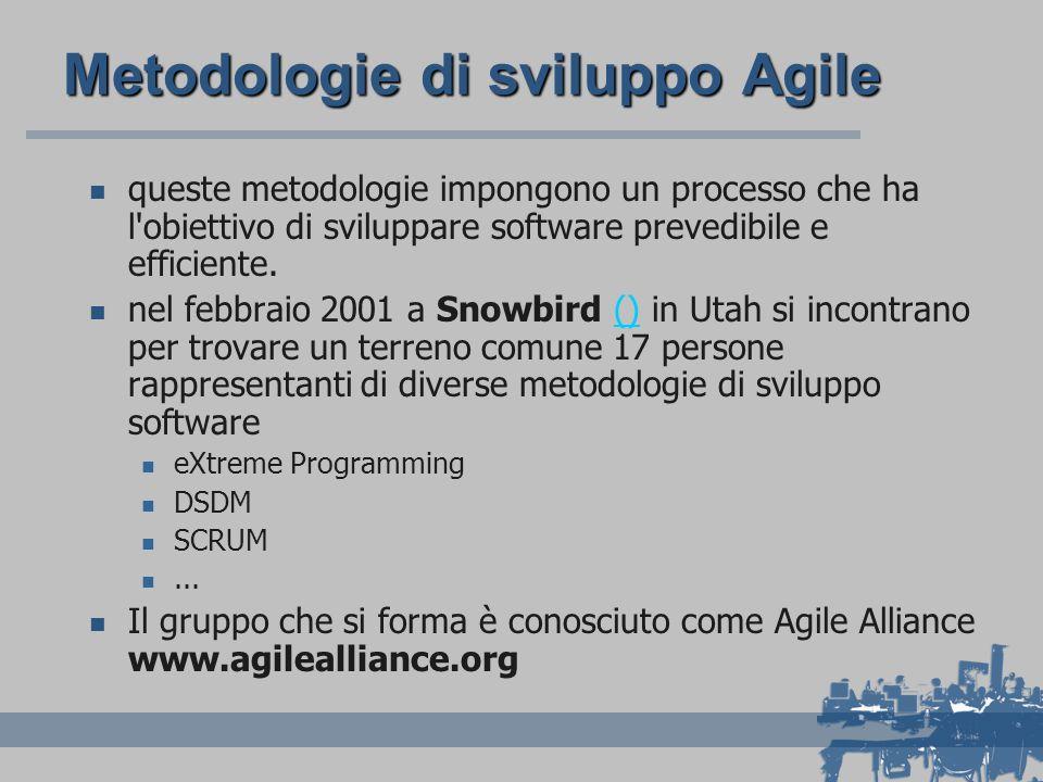 Metodologie di sviluppo Agile queste metodologie impongono un processo che ha l'obiettivo di sviluppare software prevedibile e efficiente. nel febbrai
