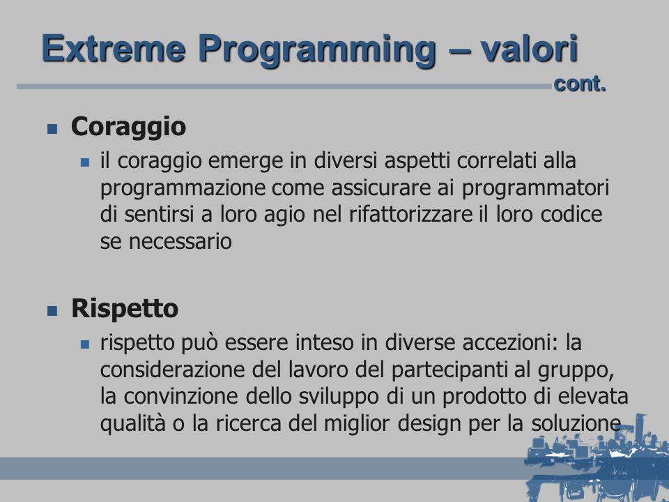 Extreme Programming – valori Coraggio il coraggio emerge in diversi aspetti correlati alla programmazione come assicurare ai programmatori di sentirsi