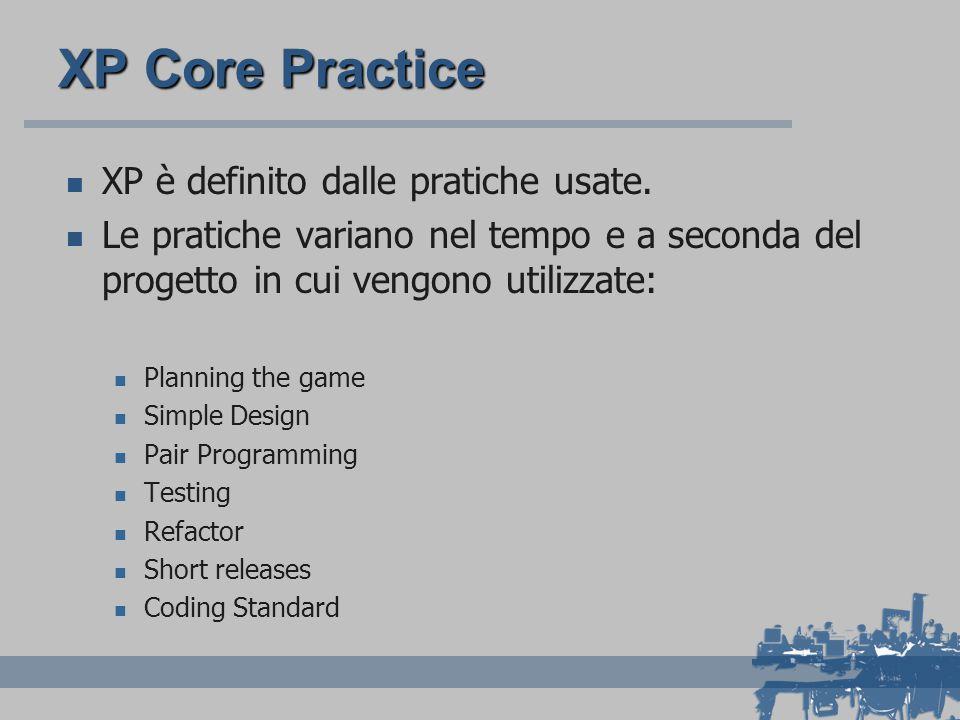 XP Core Practice XP è definito dalle pratiche usate. Le pratiche variano nel tempo e a seconda del progetto in cui vengono utilizzate: Planning the ga
