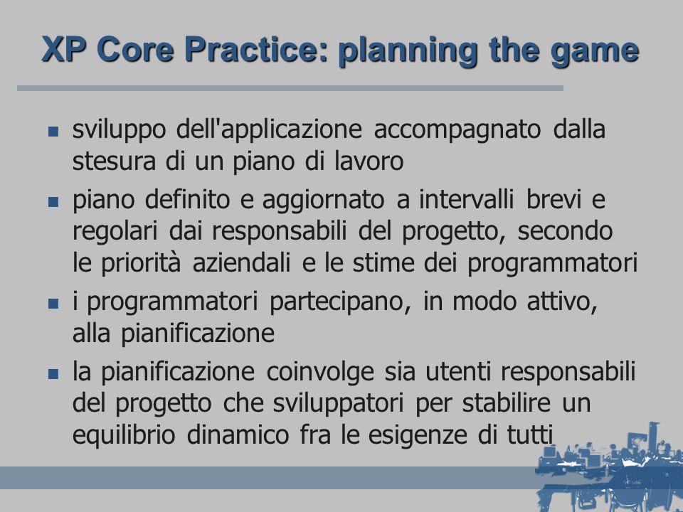 XP Core Practice: planning the game sviluppo dell applicazione accompagnato dalla stesura di un piano di lavoro piano definito e aggiornato a intervalli brevi e regolari dai responsabili del progetto, secondo le priorità aziendali e le stime dei programmatori i programmatori partecipano, in modo attivo, alla pianificazione la pianificazione coinvolge sia utenti responsabili del progetto che sviluppatori per stabilire un equilibrio dinamico fra le esigenze di tutti