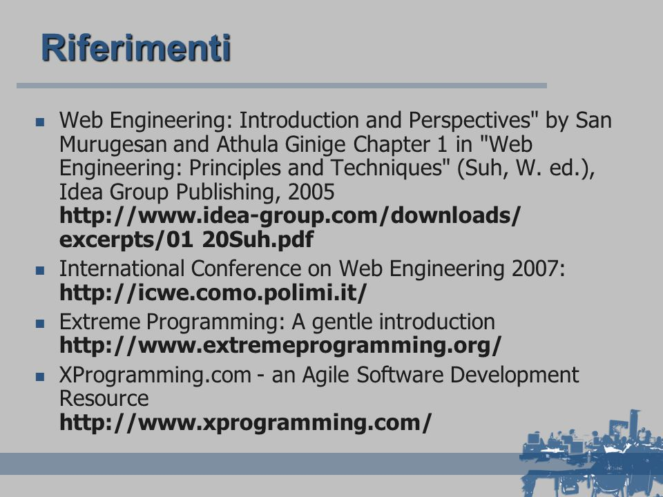 Riferimenti Web Engineering: Introduction and Perspectives