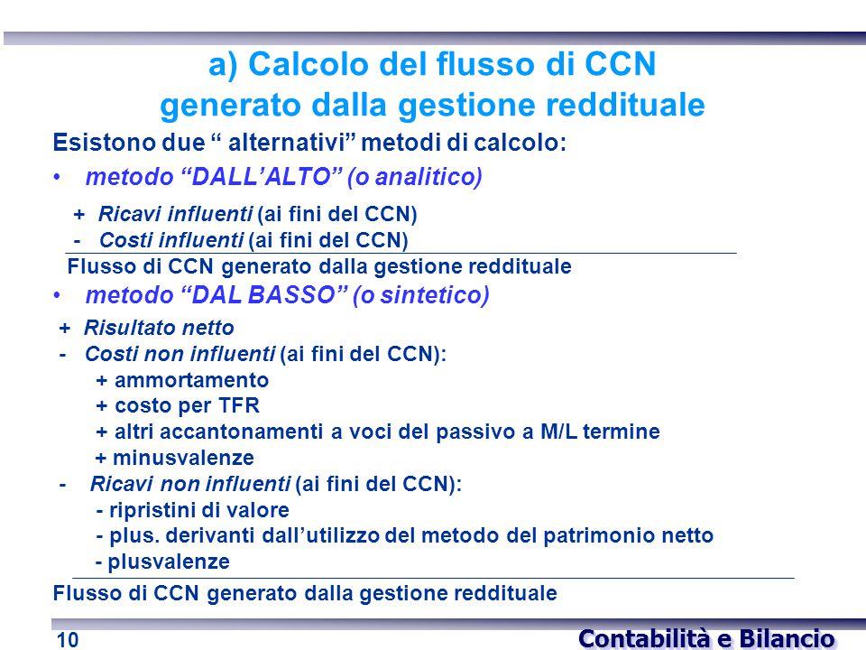 """Contabilità e Bilancio 10 a) Calcolo del flusso di CCN generato dalla gestione reddituale Esistono due """" alternativi"""" metodi di calcolo: metodo """"DALL'"""