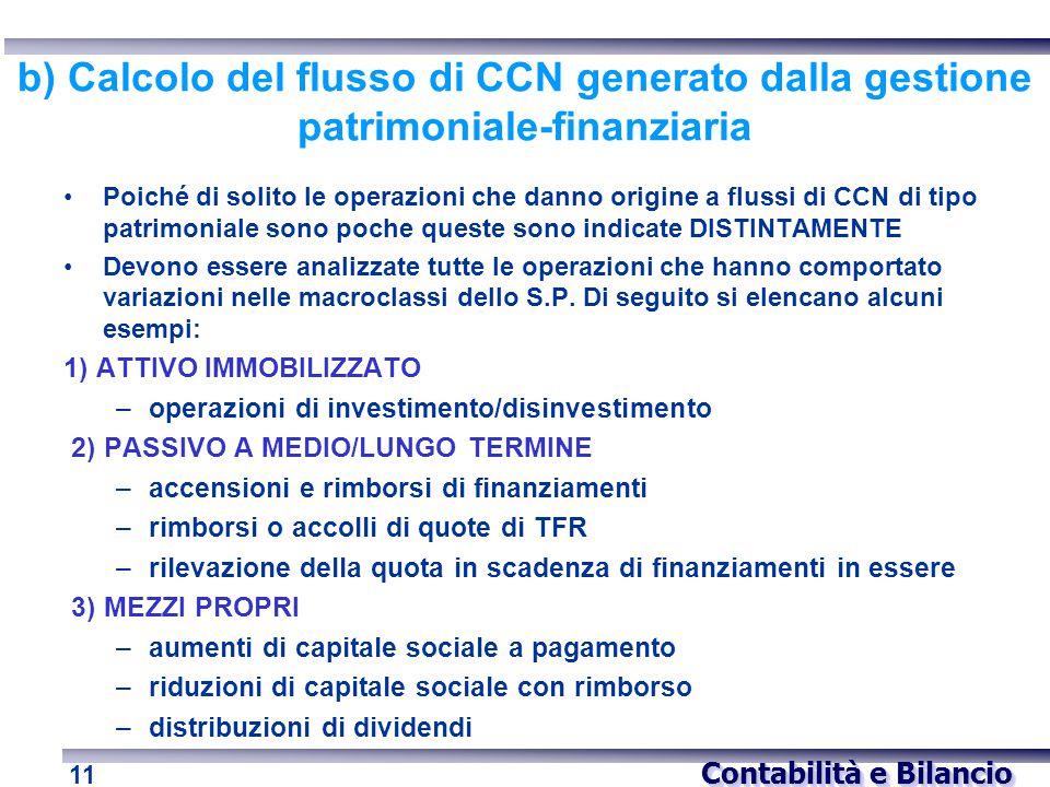 Contabilità e Bilancio 11 b) Calcolo del flusso di CCN generato dalla gestione patrimoniale-finanziaria Poiché di solito le operazioni che danno origi