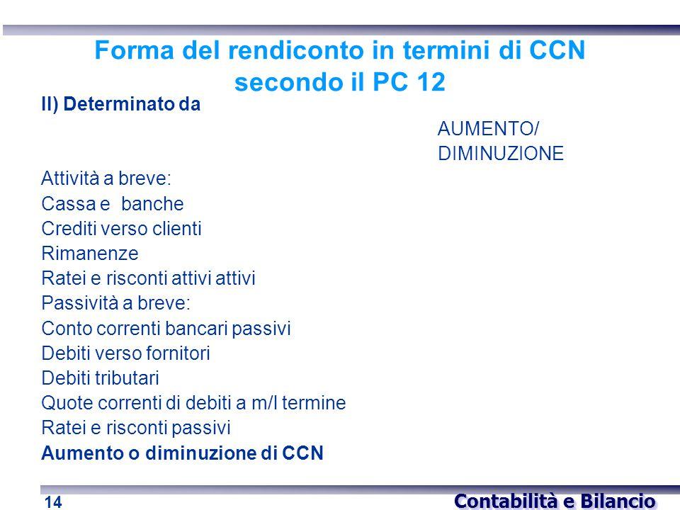 Contabilità e Bilancio 14 Forma del rendiconto in termini di CCN secondo il PC 12 II) Determinato da AUMENTO/ DIMINUZIONE Attività a breve: Cassa e ba