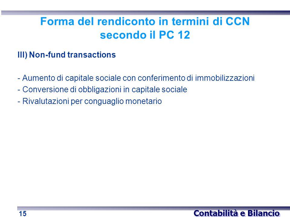 Contabilità e Bilancio 15 Forma del rendiconto in termini di CCN secondo il PC 12 III) Non-fund transactions - Aumento di capitale sociale con conferi