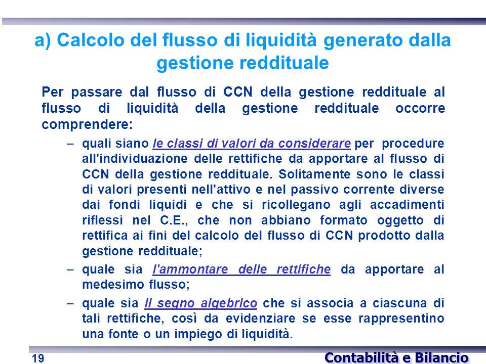 Contabilità e Bilancio 19 a) Calcolo del flusso di liquidità generato dalla gestione reddituale Per passare dal flusso di CCN della gestione redditual