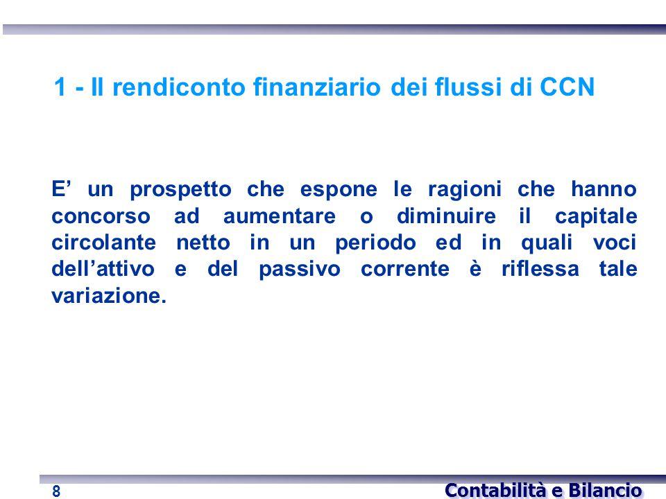 Contabilità e Bilancio 8 1 - Il rendiconto finanziario dei flussi di CCN E' un prospetto che espone le ragioni che hanno concorso ad aumentare o dimin
