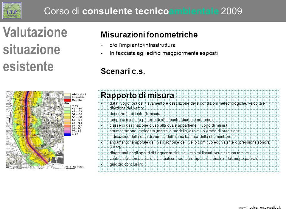 Misurazioni fonometriche - c/o l'impianto/infrastruttura -In facciata agli edifici maggiormente esposti Scenari c.s.