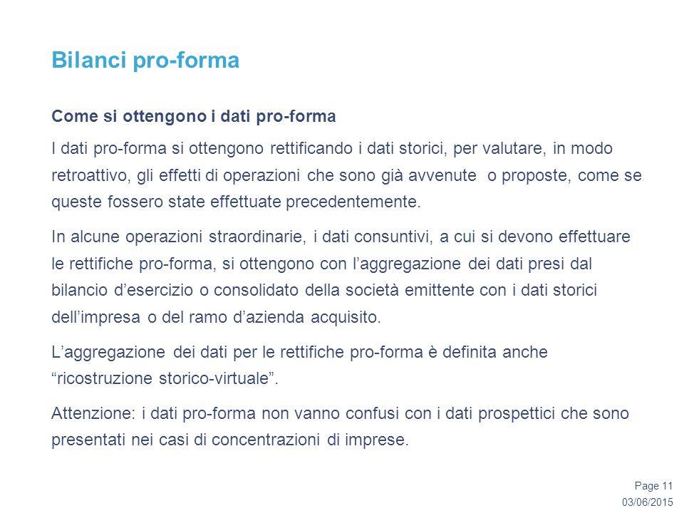 03/06/2015 Page 11 Bilanci pro-forma Come si ottengono i dati pro-forma I dati pro-forma si ottengono rettificando i dati storici, per valutare, in modo retroattivo, gli effetti di operazioni che sono già avvenute o proposte, come se queste fossero state effettuate precedentemente.