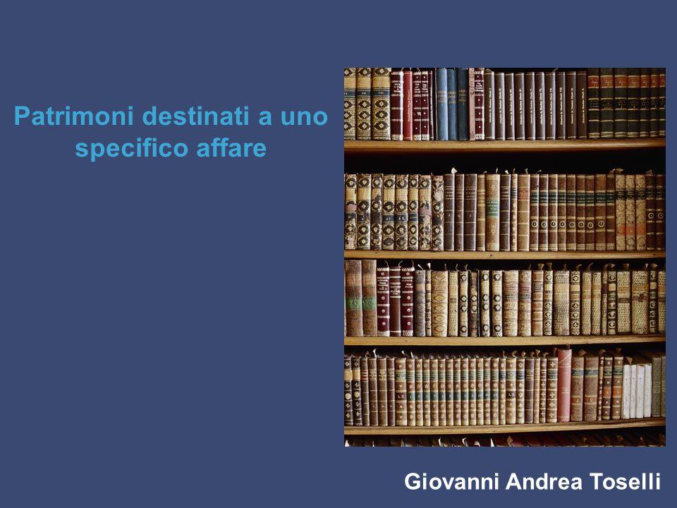 Giovanni Andrea Toselli Patrimoni destinati a uno specifico affare
