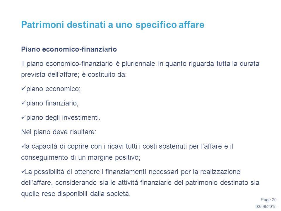 03/06/2015 Page 20 Patrimoni destinati a uno specifico affare Piano economico-finanziario Il piano economico-finanziario è pluriennale in quanto riguarda tutta la durata prevista dell'affare; è costituito da: piano economico; piano finanziario; piano degli investimenti.
