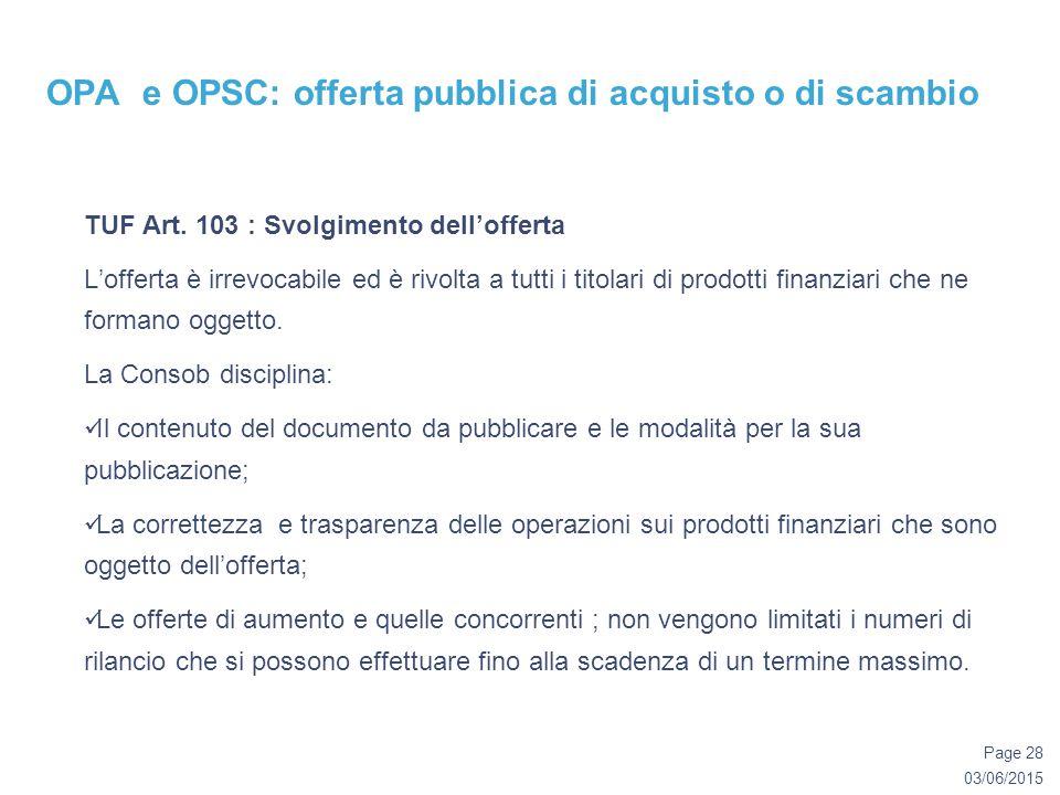 03/06/2015 Page 28 OPA e OPSC: offerta pubblica di acquisto o di scambio TUF Art.