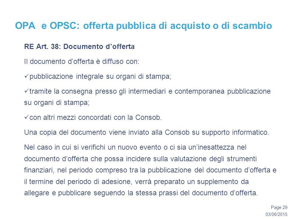 03/06/2015 Page 29 OPA e OPSC: offerta pubblica di acquisto o di scambio RE Art.