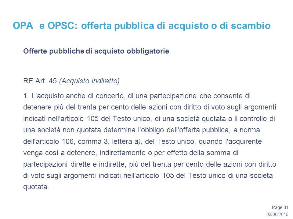 03/06/2015 Page 31 OPA e OPSC: offerta pubblica di acquisto o di scambio Offerte pubbliche di acquisto obbligatorie RE Art.