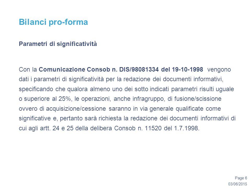 03/06/2015 Page 6 Bilanci pro-forma Parametri di significatività Con la Comunicazione Consob n.