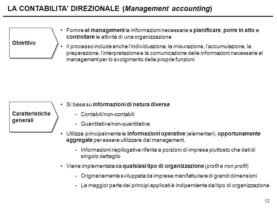 12 LA CONTABILITA' DIREZIONALE (Management accounting) Obiettivo Fornire al management le informazioni necessarie a pianificare, porre in atto e contr