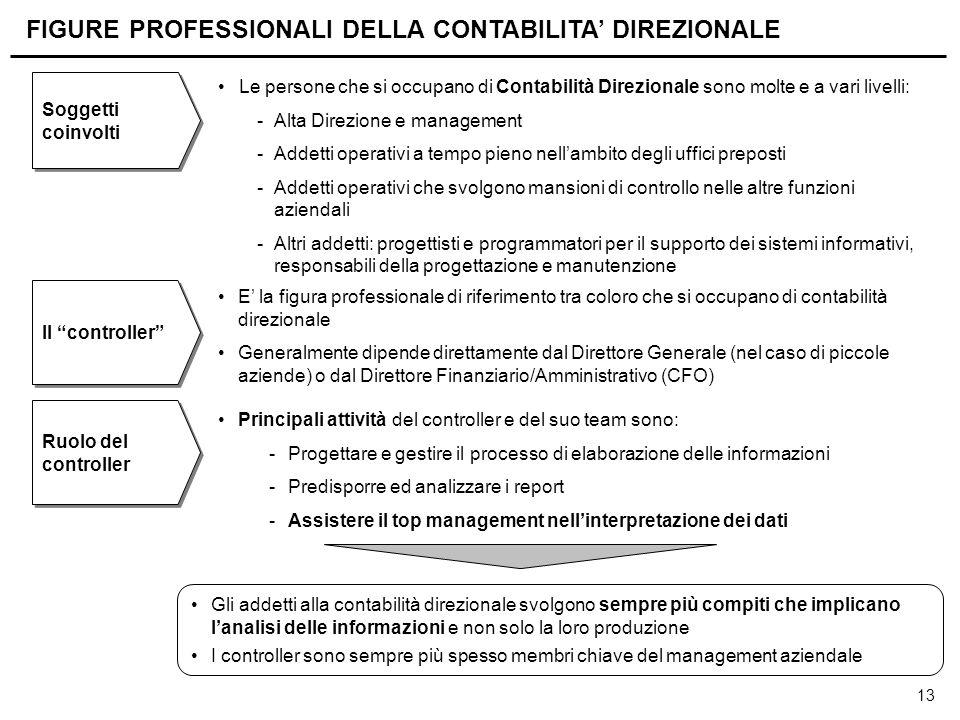 13 FIGURE PROFESSIONALI DELLA CONTABILITA' DIREZIONALE E' la figura professionale di riferimento tra coloro che si occupano di contabilità direzionale