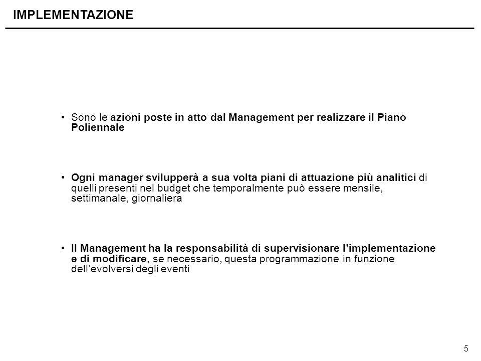 5 Sono le azioni poste in atto dal Management per realizzare il Piano Poliennale Ogni manager svilupperà a sua volta piani di attuazione più analitici
