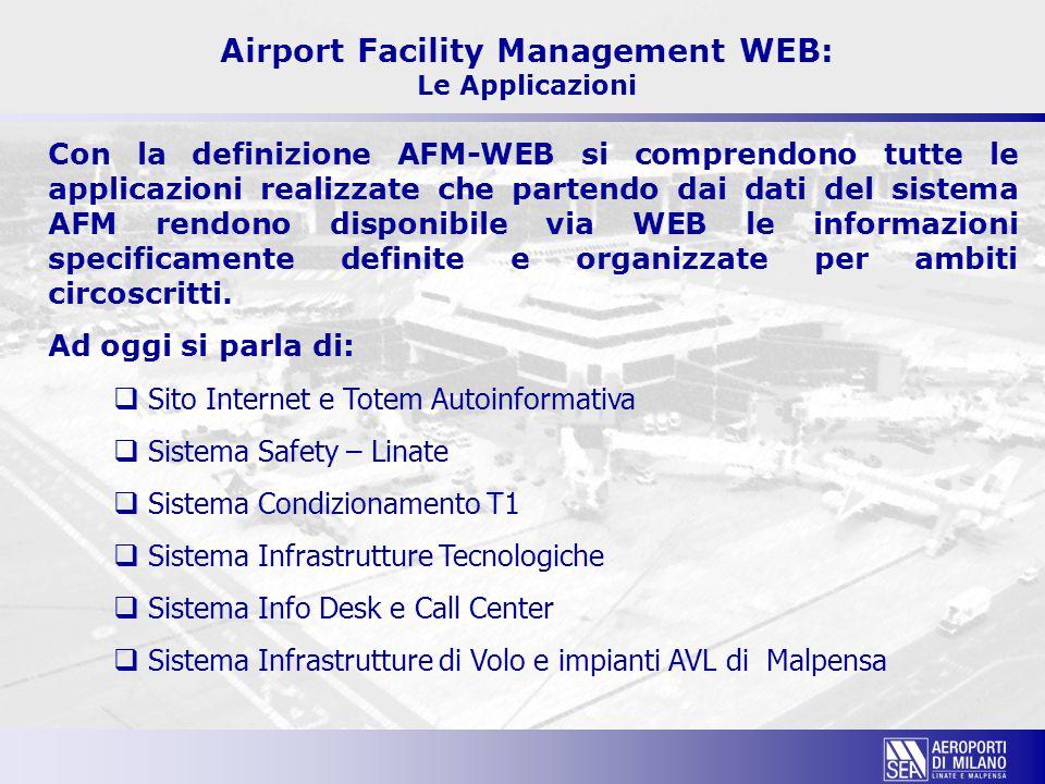 Airport Facility Management WEB: Le Applicazioni Con la definizione AFM-WEB si comprendono tutte le applicazioni realizzate che partendo dai dati del
