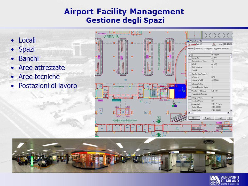 Locali Spazi Banchi Aree attrezzate Aree tecniche Postazioni di lavoro Airport Facility Management Gestione degli Spazi