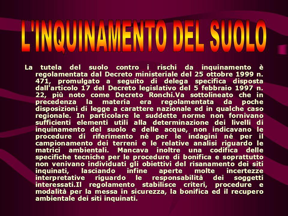 La tutela del suolo contro i rischi da inquinamento è regolamentata dal Decreto ministeriale del 25 ottobre 1999 n. 471, promulgato a seguito di deleg