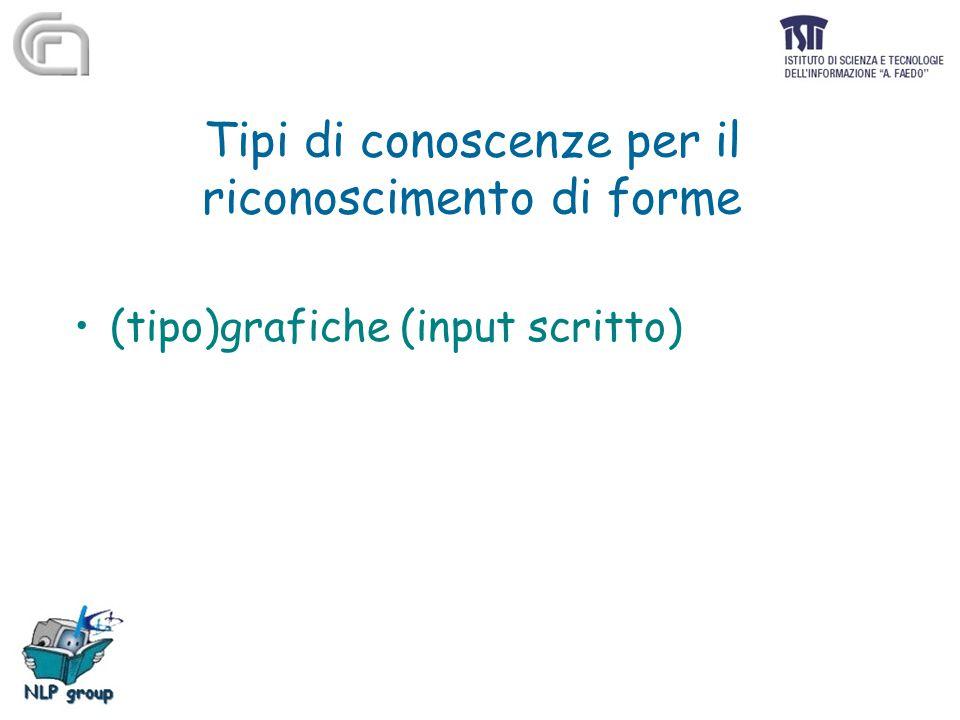 Tipi di conoscenze per il riconoscimento di forme (tipo)grafiche (input scritto)