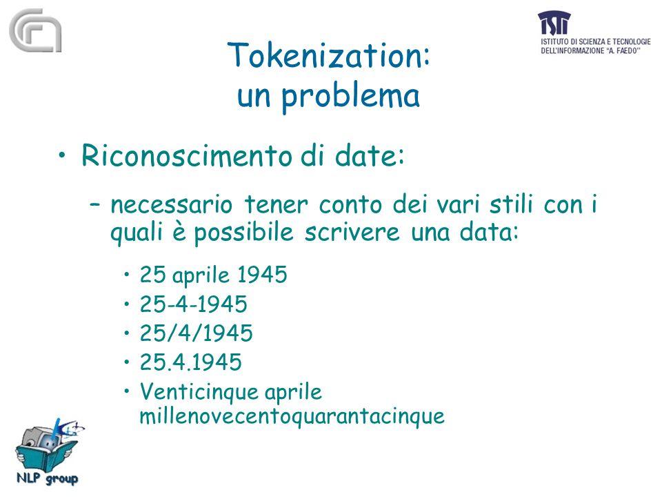 Tokenization: un problema Riconoscimento di date: –necessario tener conto dei vari stili con i quali è possibile scrivere una data: 25 aprile 1945 25-