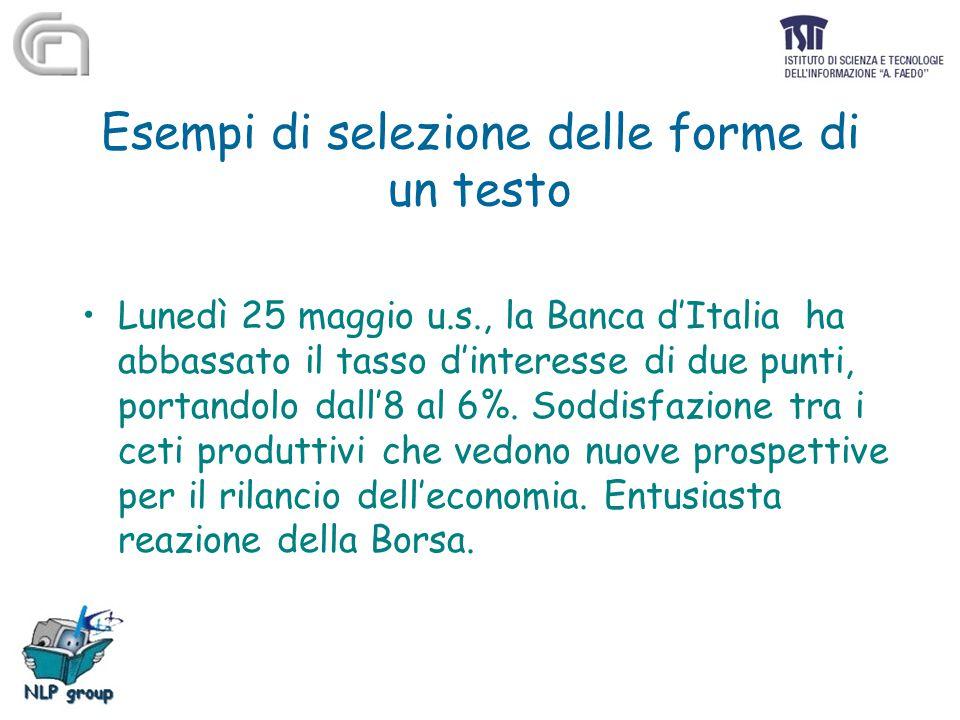 Esempi di selezione delle forme di un testo Lunedì 25 maggio u.s., la Banca d'Italia ha abbassato il tasso d'interesse di due punti, portandolo dall'8