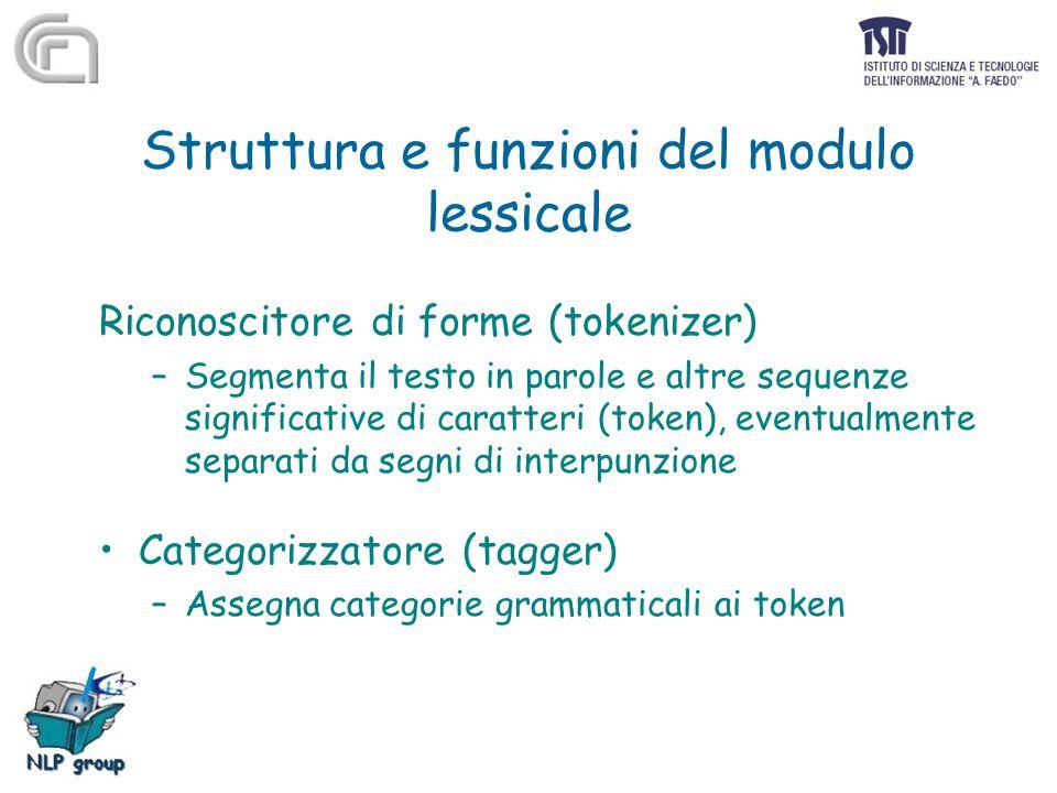 Struttura e funzioni del modulo lessicale Riconoscitore di forme (tokenizer) –Segmenta il testo in parole e altre sequenze significative di caratteri