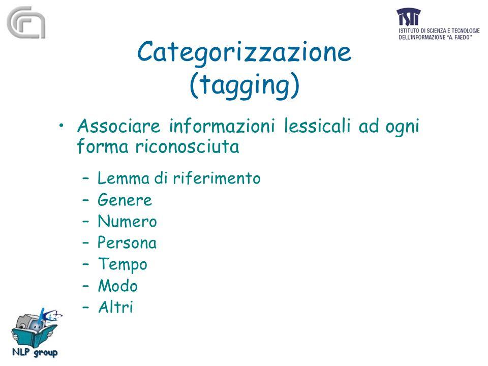 Categorizzazione (tagging) Associare informazioni lessicali ad ogni forma riconosciuta –Lemma di riferimento –Genere –Numero –Persona –Tempo –Modo –Al