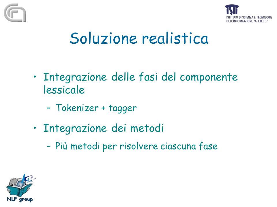Soluzione realistica Integrazione delle fasi del componente lessicale –Tokenizer + tagger Integrazione dei metodi –Più metodi per risolvere ciascuna f