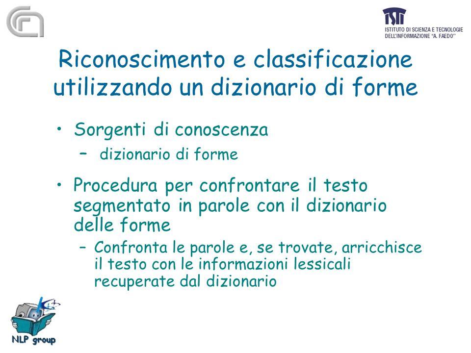 Riconoscimento e classificazione utilizzando un dizionario di forme Sorgenti di conoscenza – dizionario di forme Procedura per confrontare il testo se