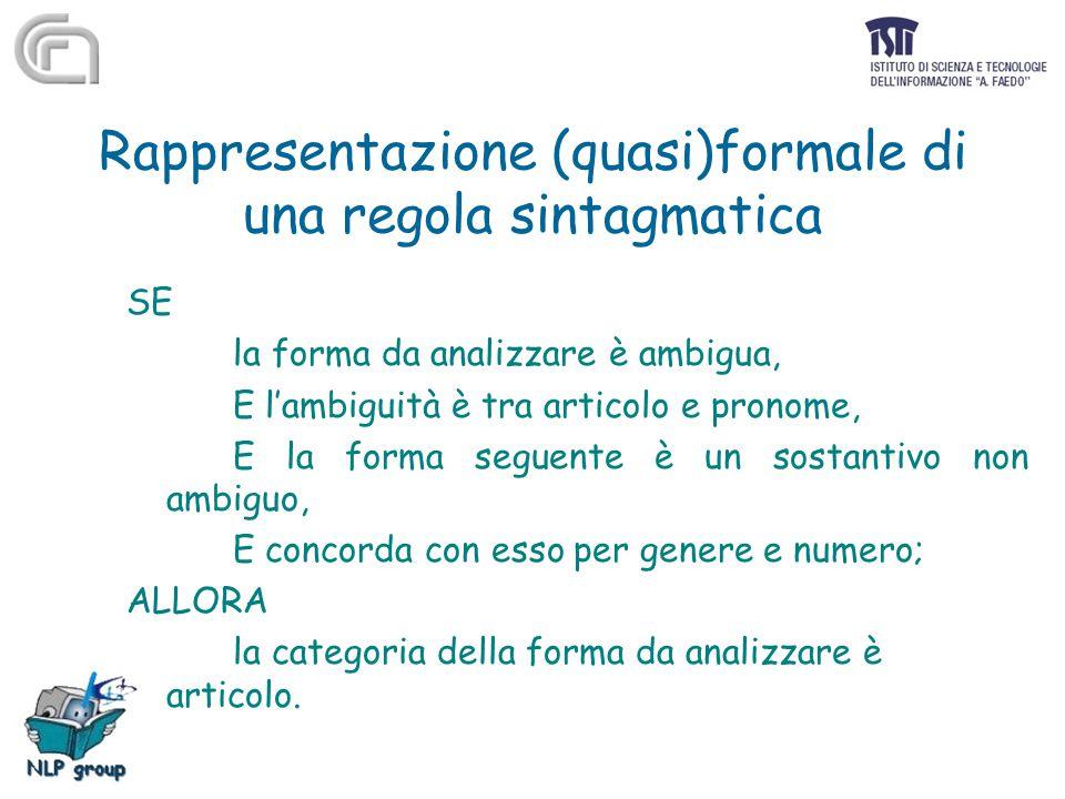 Rappresentazione (quasi)formale di una regola sintagmatica SE la forma da analizzare è ambigua, E l'ambiguità è tra articolo e pronome, E la forma seg