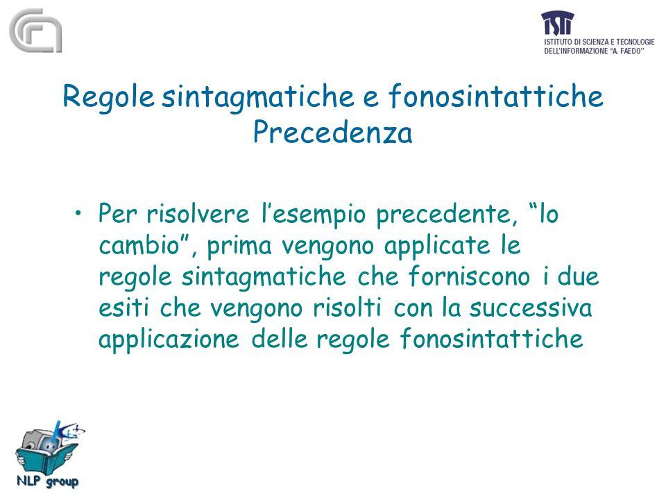"""Regole sintagmatiche e fonosintattiche Precedenza Per risolvere l'esempio precedente, """"lo cambio"""", prima vengono applicate le regole sintagmatiche che"""