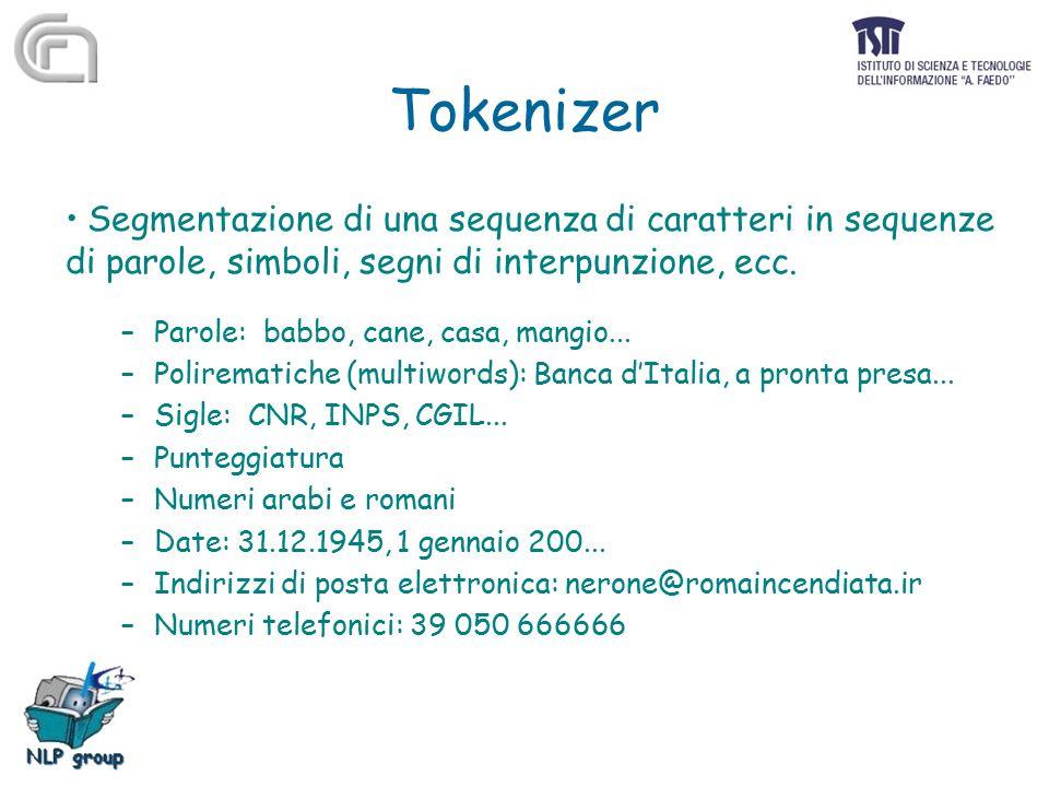 Tokenizer Segmentazione di una sequenza di caratteri in sequenze di parole, simboli, segni di interpunzione, ecc. –Parole: babbo, cane, casa, mangio..