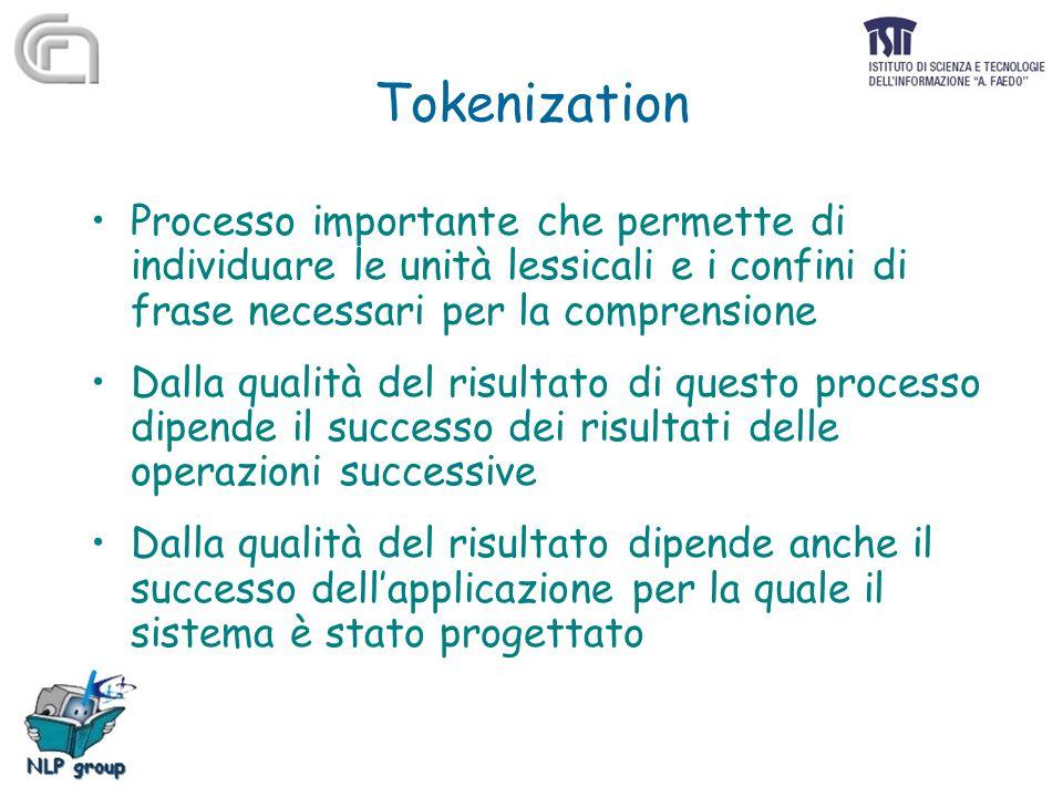 Tokenization Processo importante che permette di individuare le unità lessicali e i confini di frase necessari per la comprensione Dalla qualità del r
