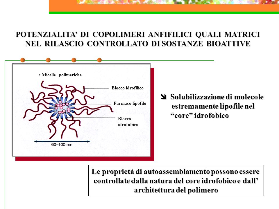 POTENZIALITA' DI COPOLIMERI ANFIFILICI QUALI MATRICI NEL RILASCIO CONTROLLATO DI SOSTANZE BIOATTIVE  Solubilizzazione di molecole estremamente lipofile nel core idrofobico estremamente lipofile nel core idrofobico Le proprietà di autoassemblamento possono essere controllate dalla natura del core idrofobico e dall' architettura del polimero Blocco idrofilico Micelle polimeriche Blocco idrofobico Farmaco lipofilo