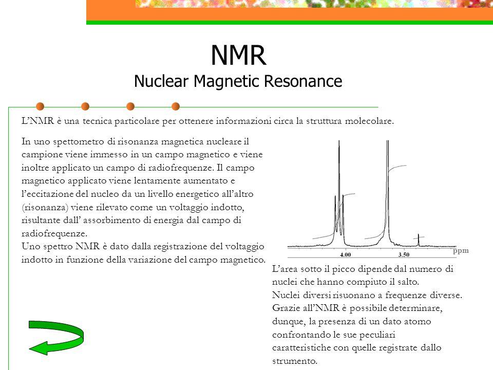 NMR Nuclear Magnetic Resonance L'NMR è una tecnica particolare per ottenere informazioni circa la struttura molecolare. In uno spettometro di risonanz