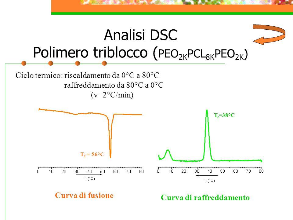 Analisi DSC Polimero triblocco ( PEO 2K PCL 8K PEO 2K ) Curva di fusione Curva di raffreddamento T f = 56°C T c =38°C Ciclo termico: riscaldamento da 0°C a 80°C raffreddamento da 80°C a 0°C (v=2°C/min)
