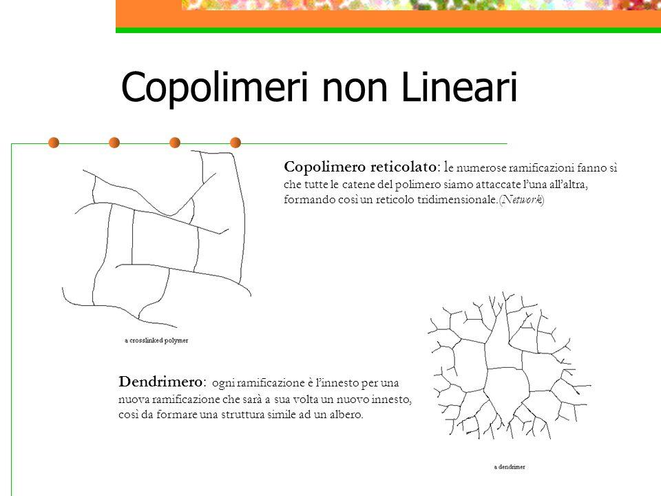 Copolimeri non Lineari Copolimero reticolato: l e numerose ramificazioni fanno sì che tutte le catene del polimero siamo attaccate l'una all'altra, formando così un reticolo tridimensionale.(Network) Dendrimero: ogni ramificazione è l'innesto per una nuova ramificazione che sarà a sua volta un nuovo innesto, così da formare una struttura simile ad un albero.