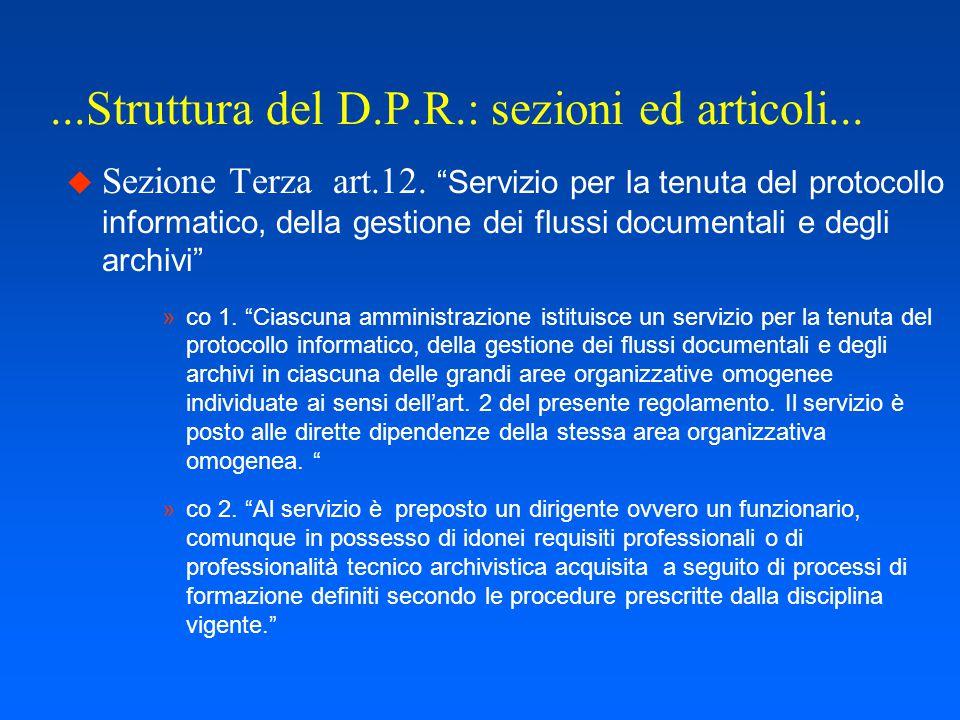 ...Struttura del D.P.R.: sezioni ed articoli...