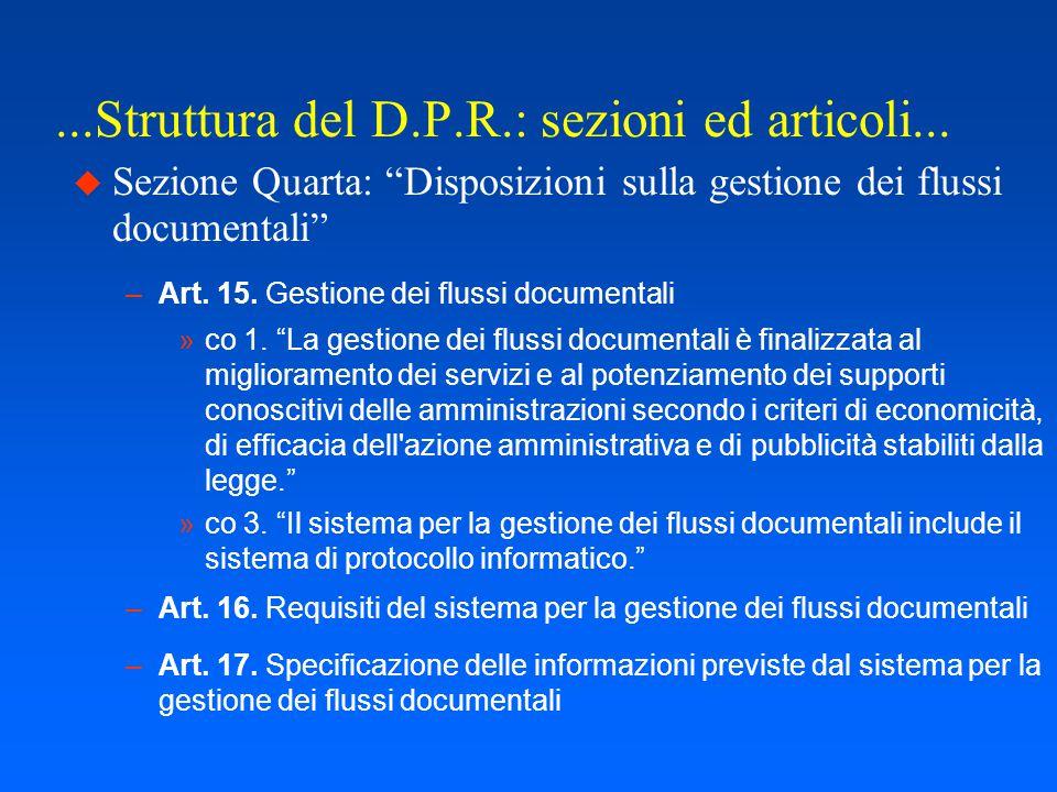 ...Struttura del D.P.R.: sezioni ed articoli...  Sezione Terza art.12.