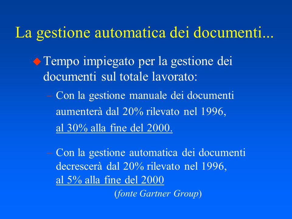Le nuove esigenze u La gestione elettronica e distribuita del ciclo di vita dei documenti u L'integrazione della gestione dei documenti con l'automazione dei flussi di lavoro (Workflow dei procedimenti amministrativi) u I servizi cooperativi tra AF e PA (RUPA) u La valutazione della prestazione nella AF