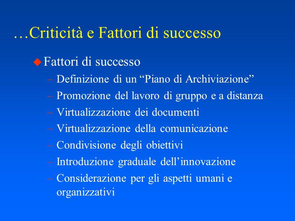 Criticità e Fattori di successo...